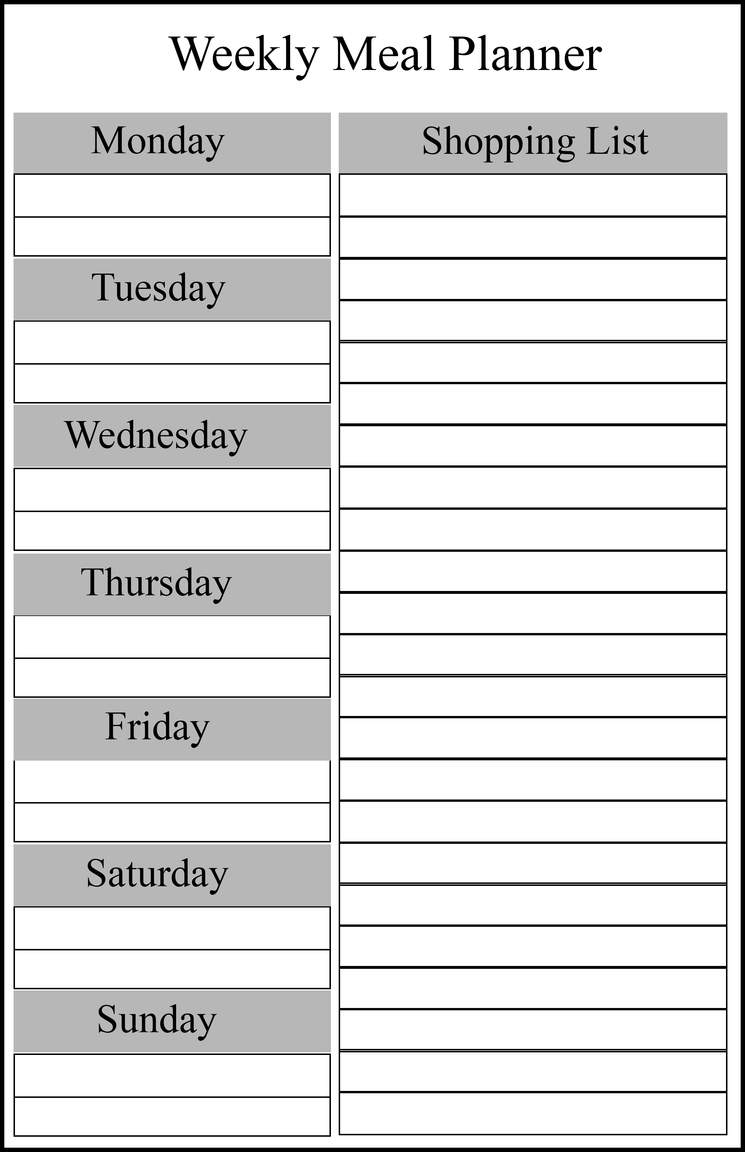 Weekly Meal Planner For Family Templates | How To Wiki