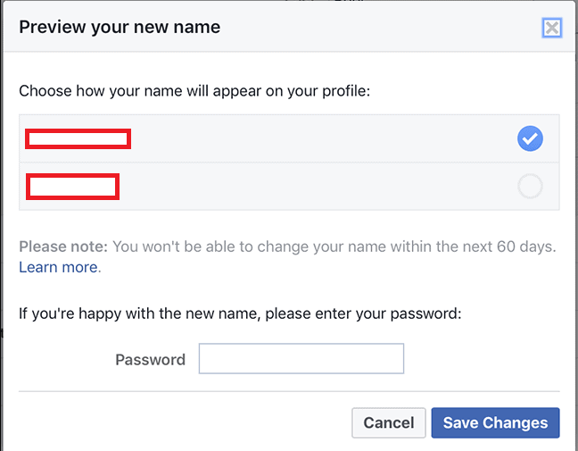 Change your name on facebook