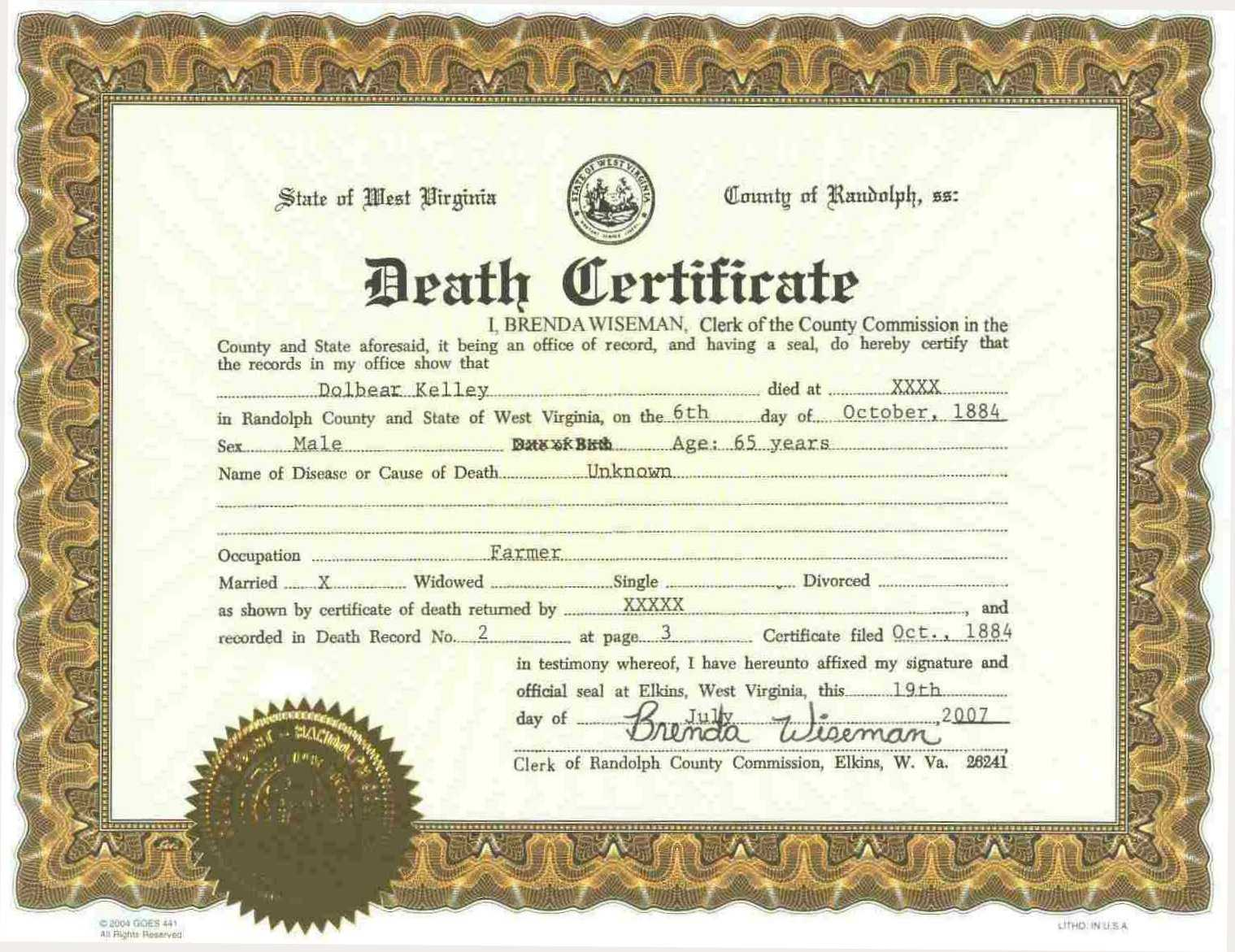 Sample of Certificate of Death