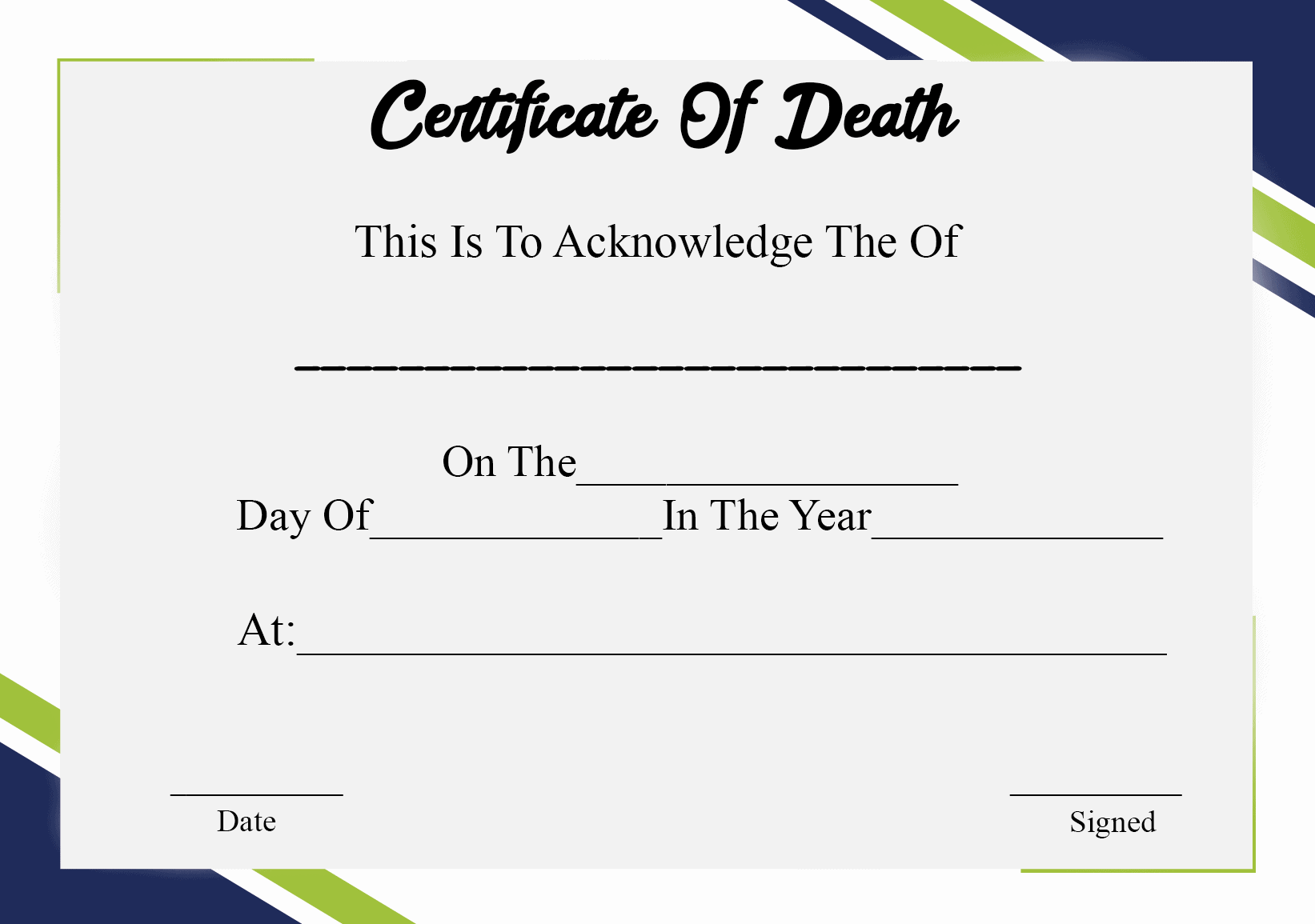 Blank Certificate Of Death