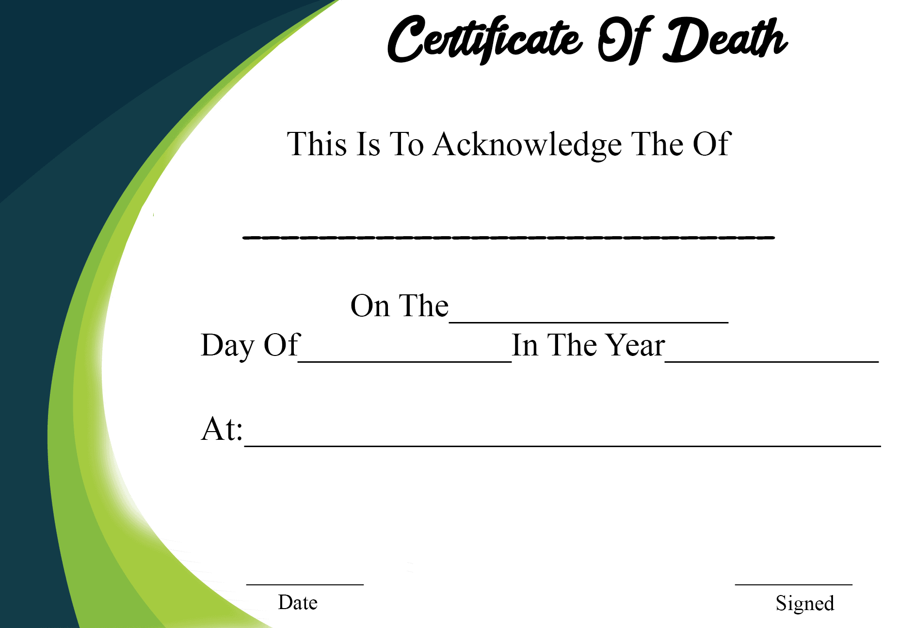 Requirement for Certificate of Death