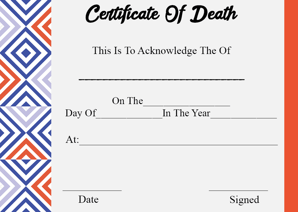 Printable Certificate Of Death
