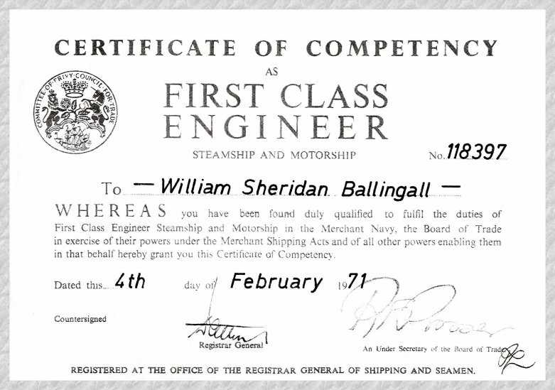 Sample Of Certificate Of Competency