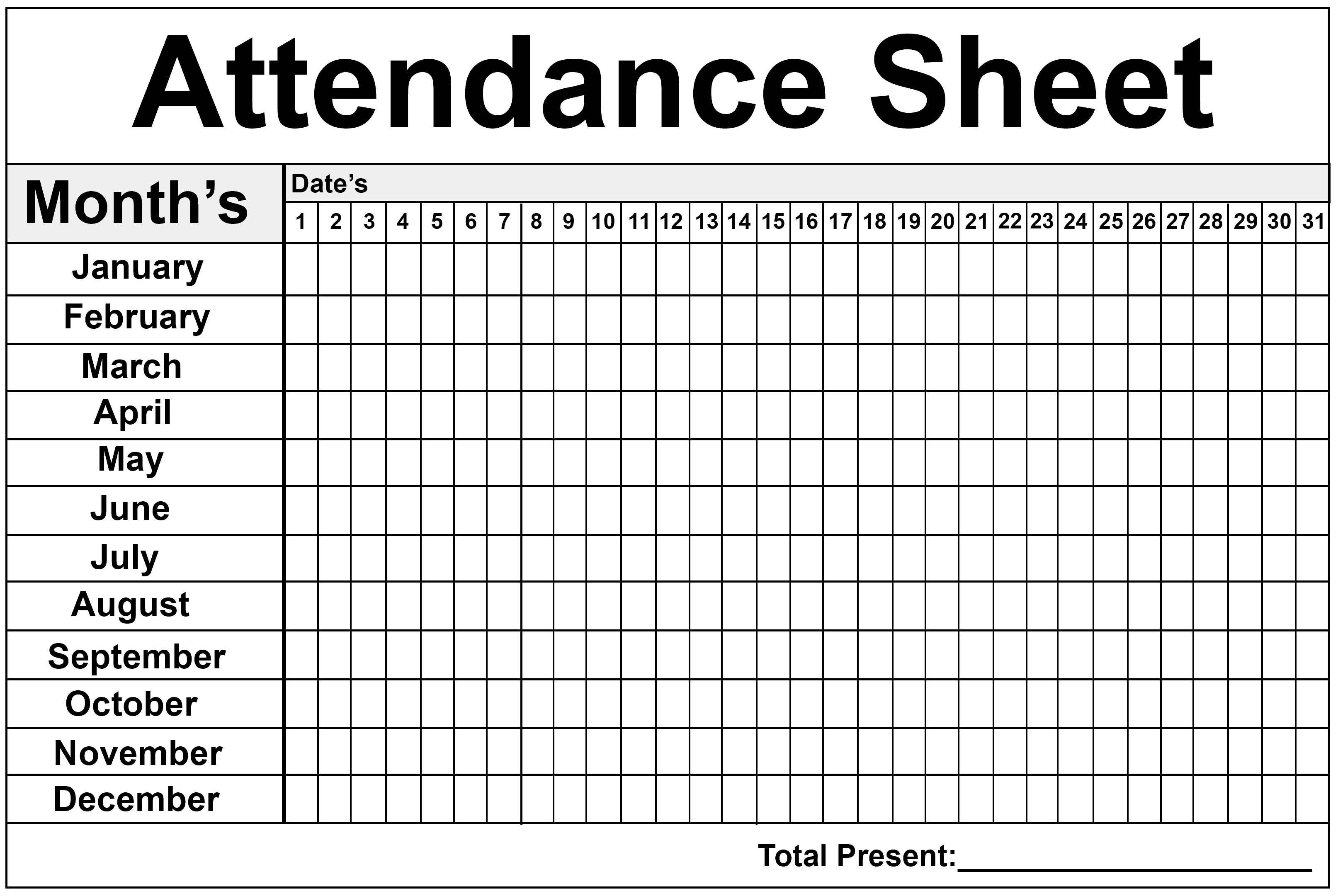 Daily/Monthly Employee Attendance Sheet Template Free ...
