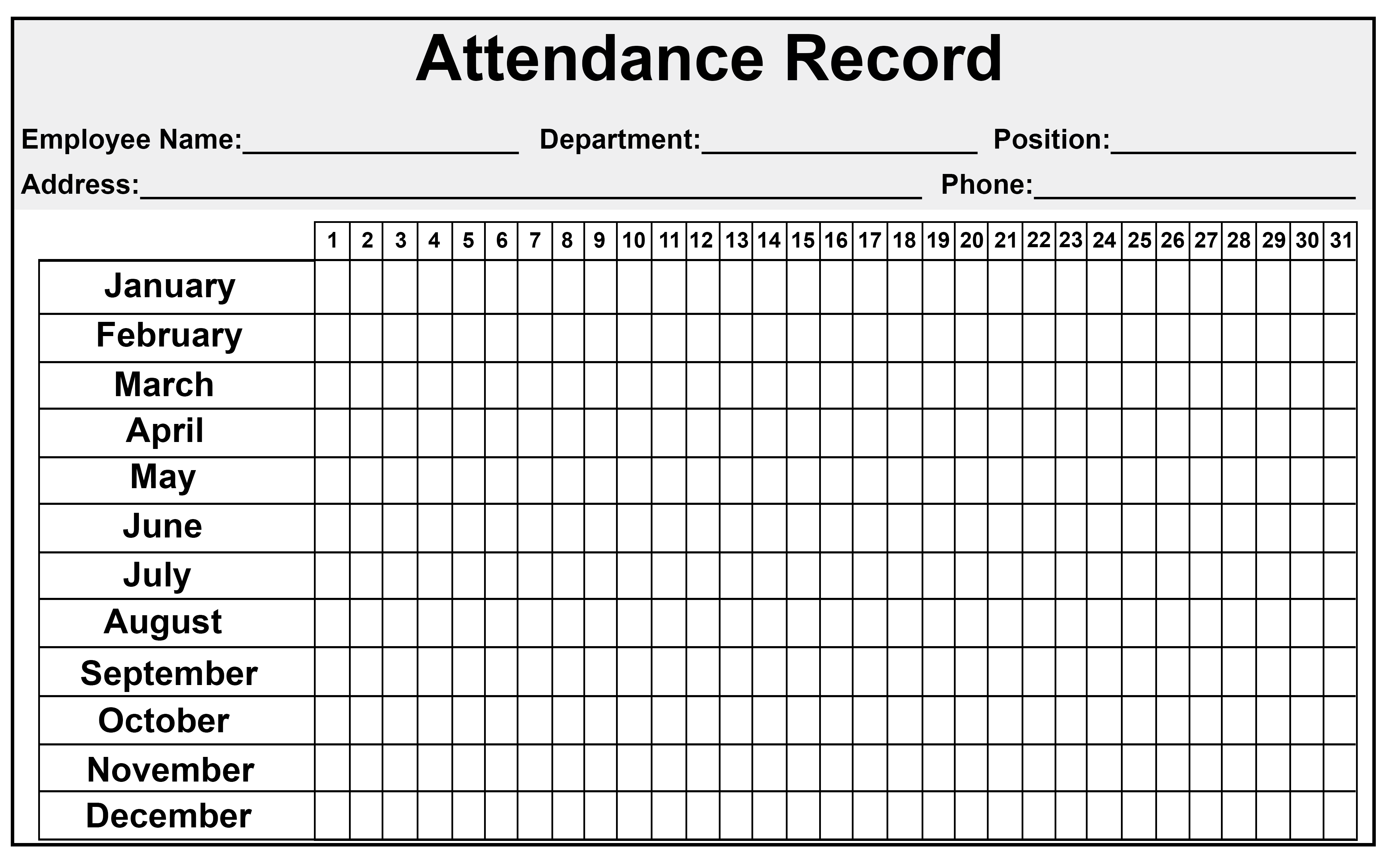 Printable Attendance Sheet Template