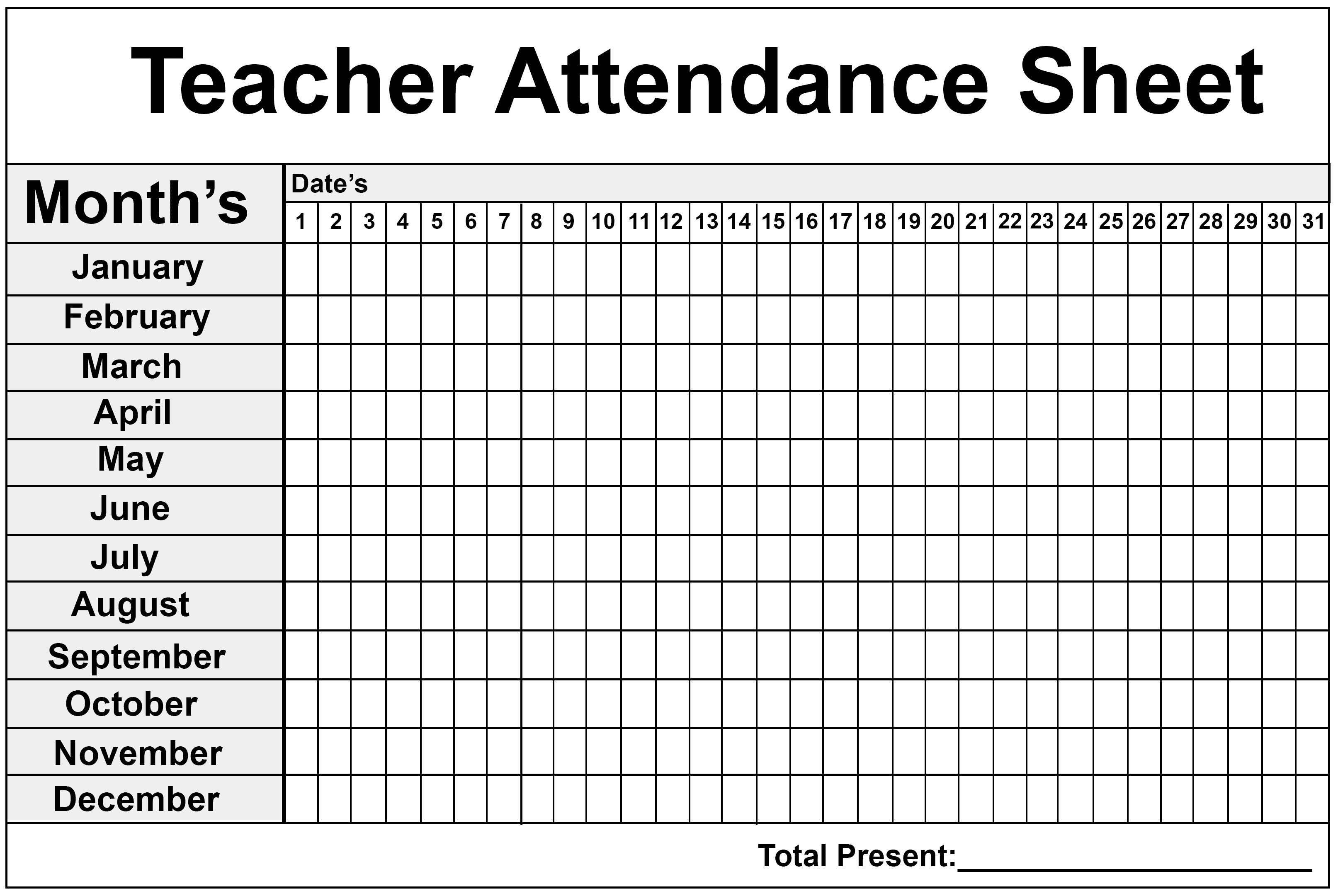 Attendance Sheet Template Download