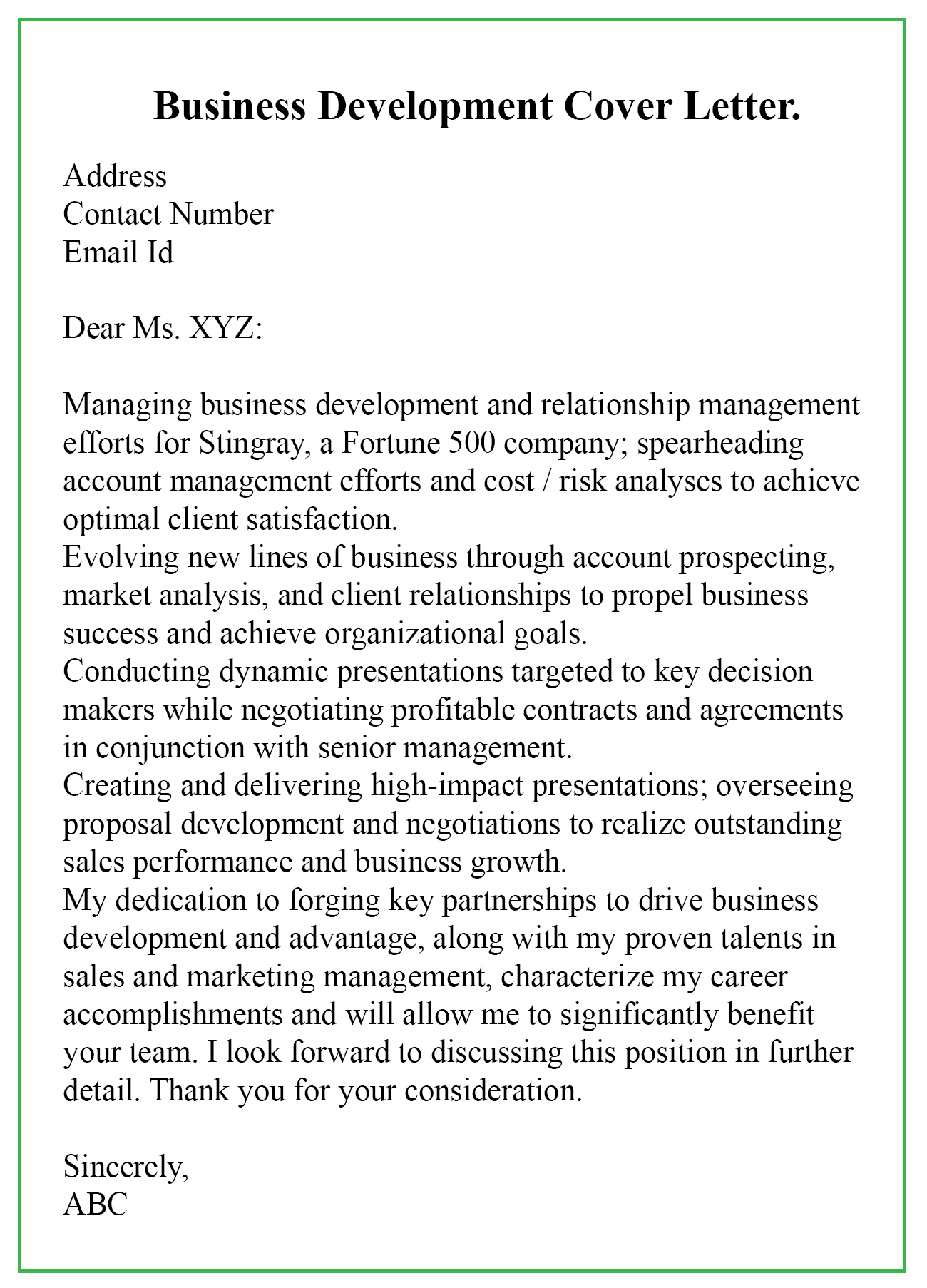 Sample Business Development Letter