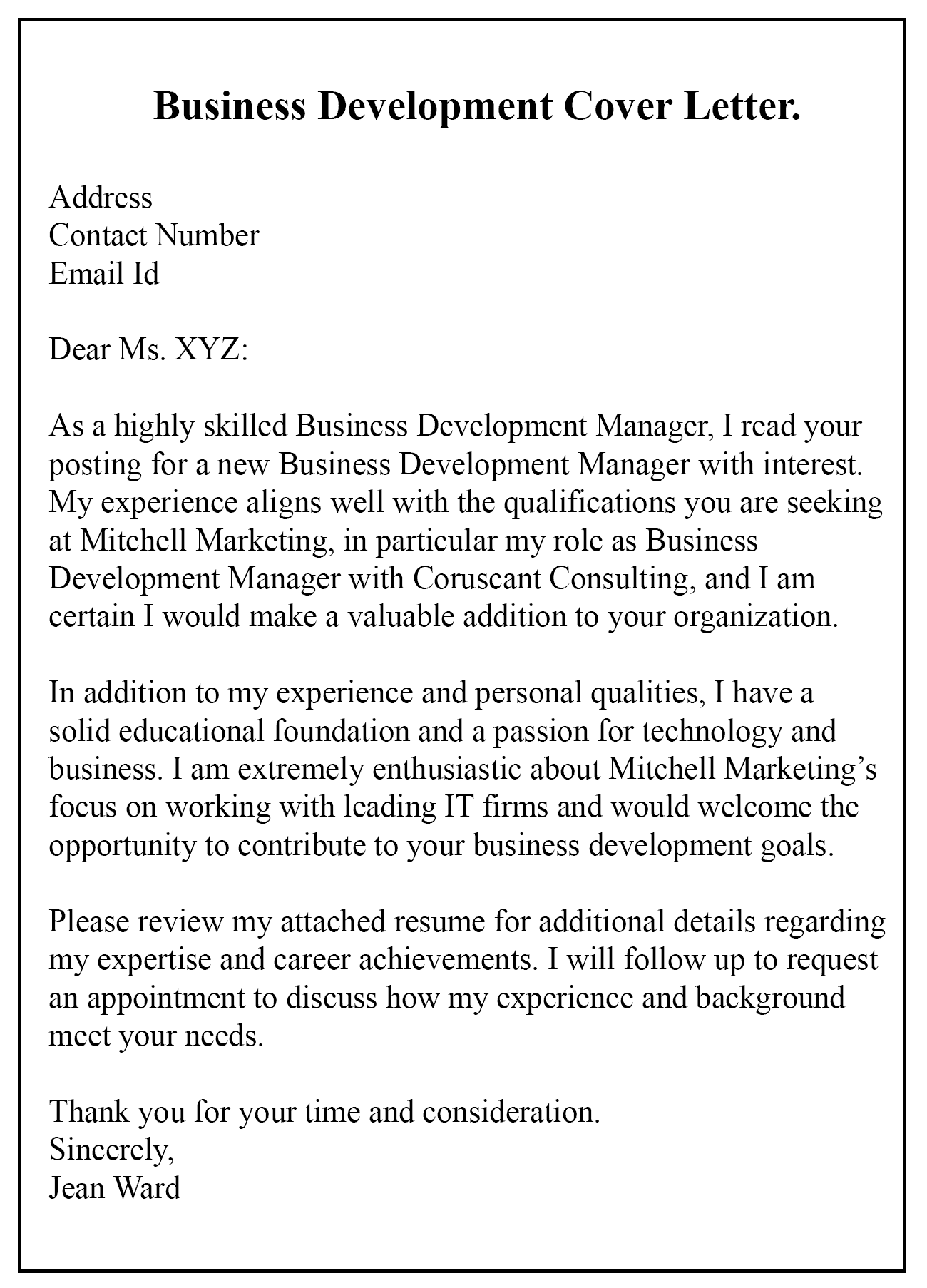 Business Development Letter Example