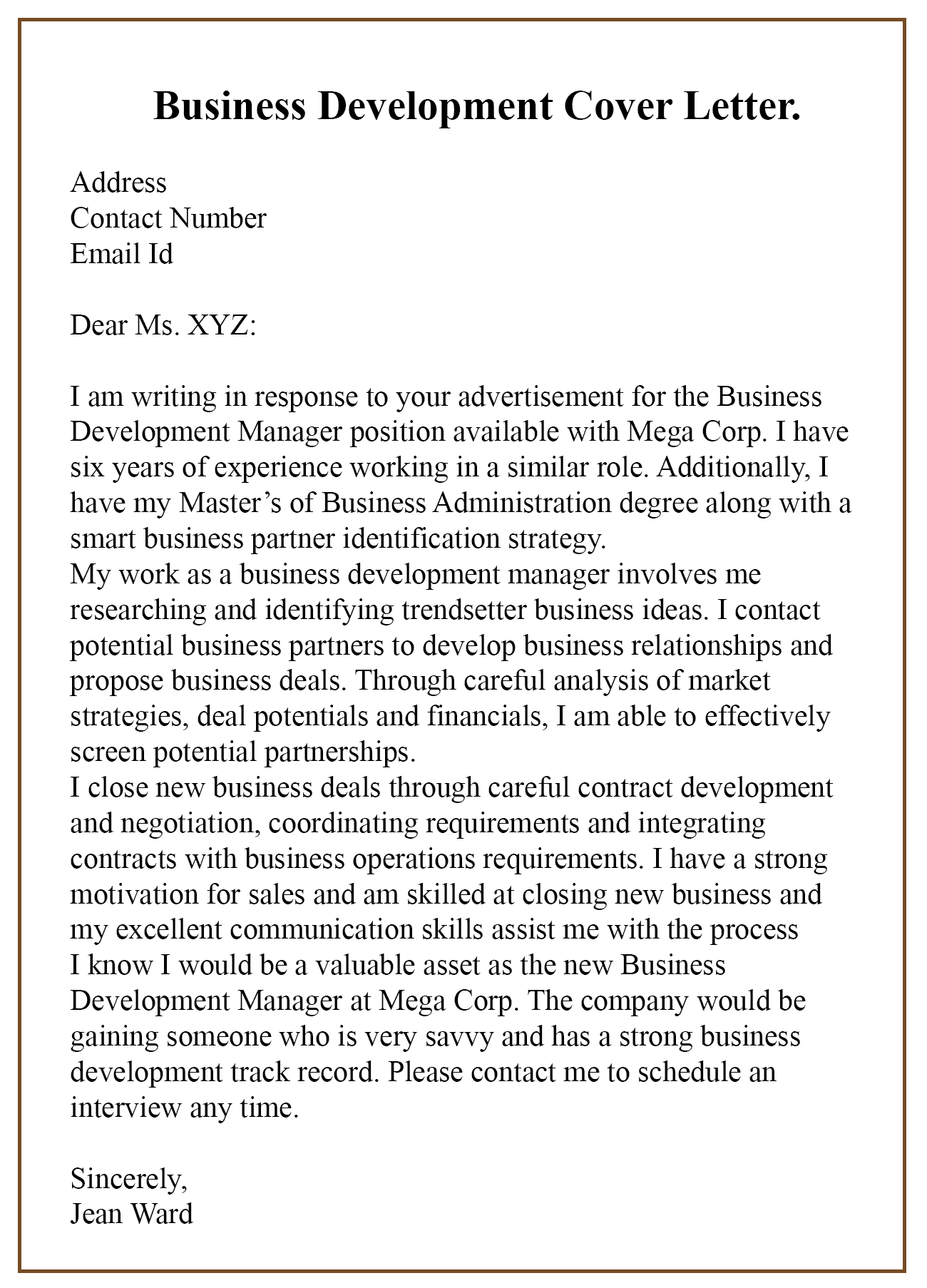 Business Development Letter Sample