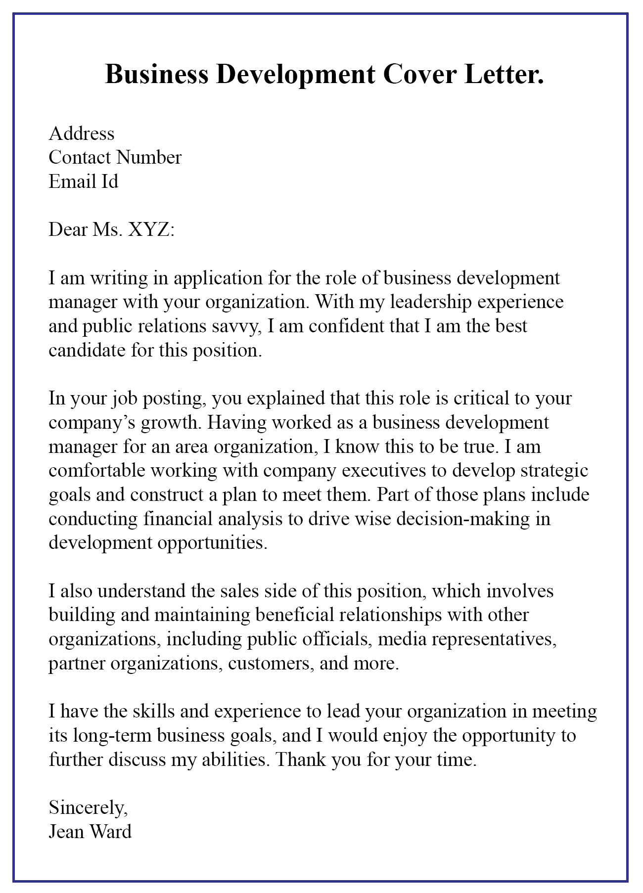Business Development Letter