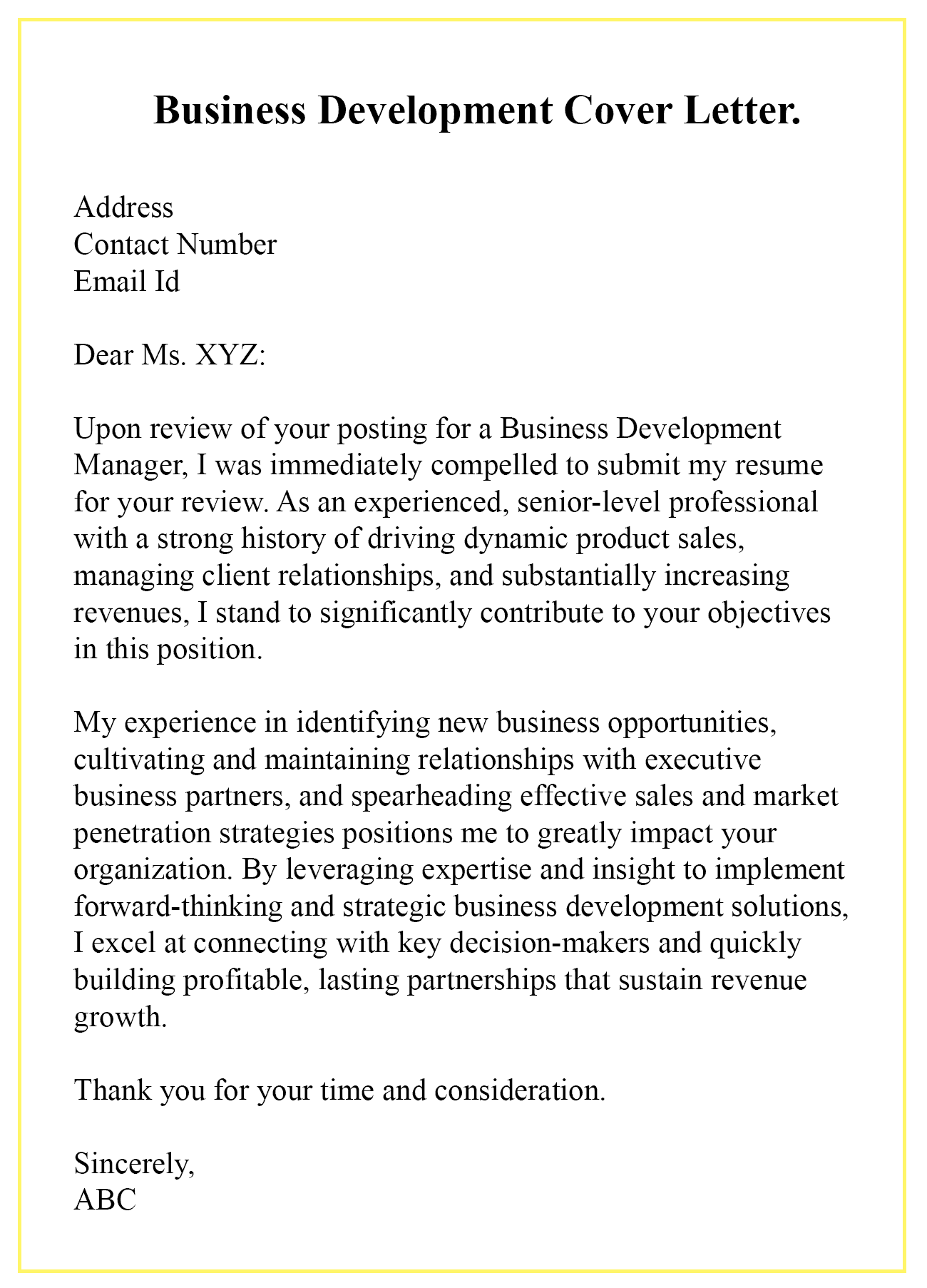 How To Write A Business Development Cover Letter With