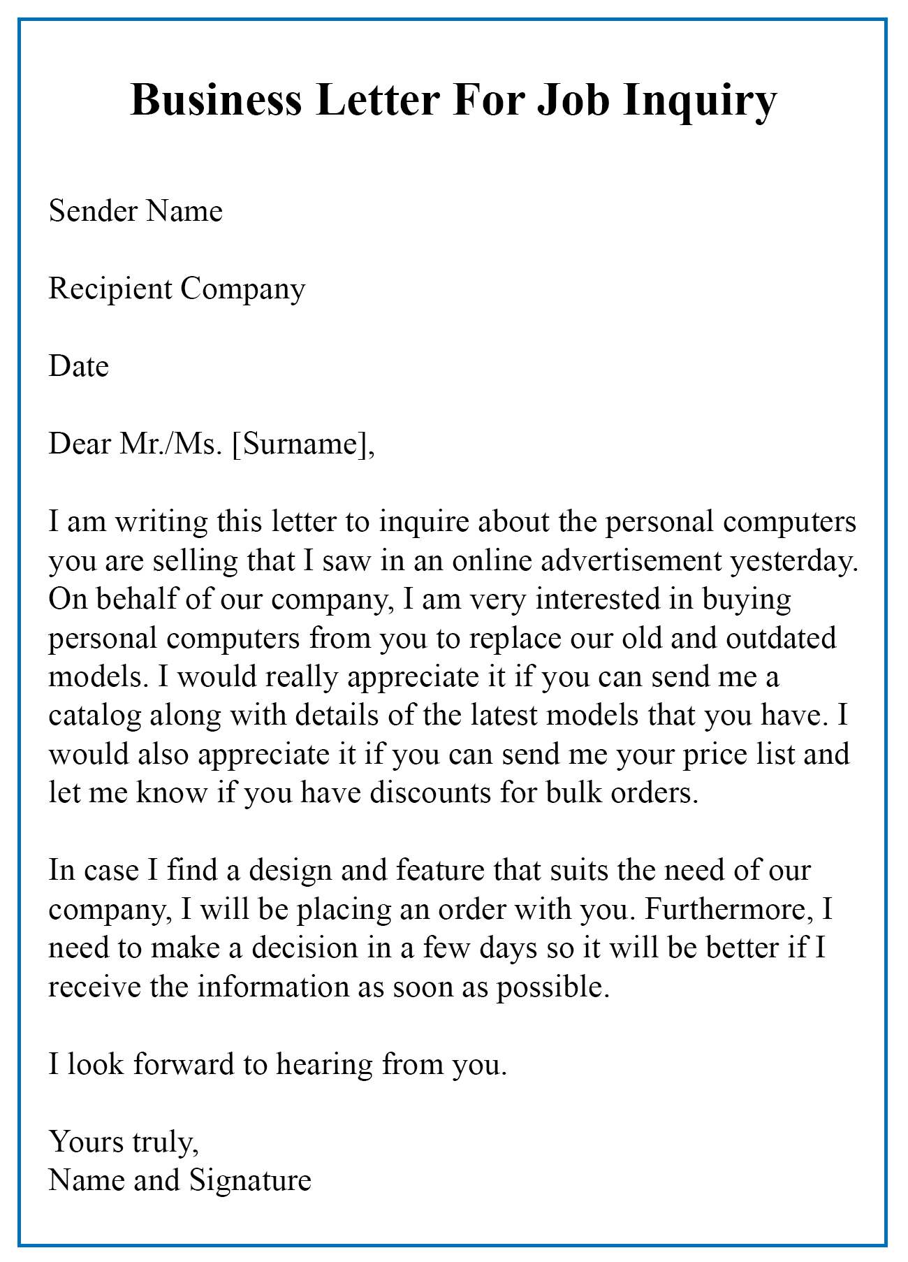 Business Letter For Inquiry Sample