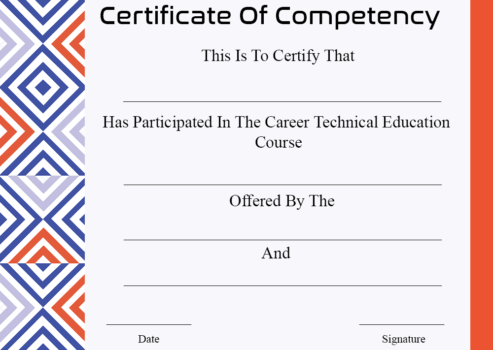 Certificate Of Competency Templates Sample