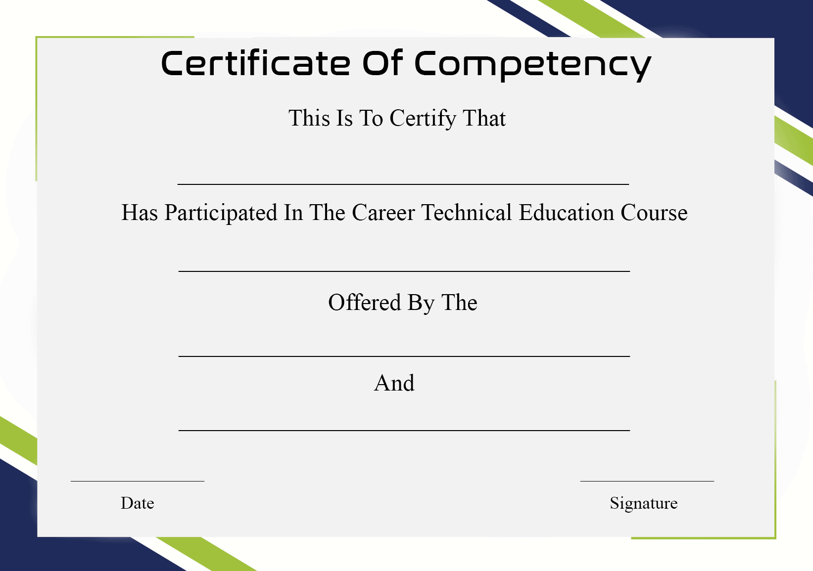Certificate Of Competency Template