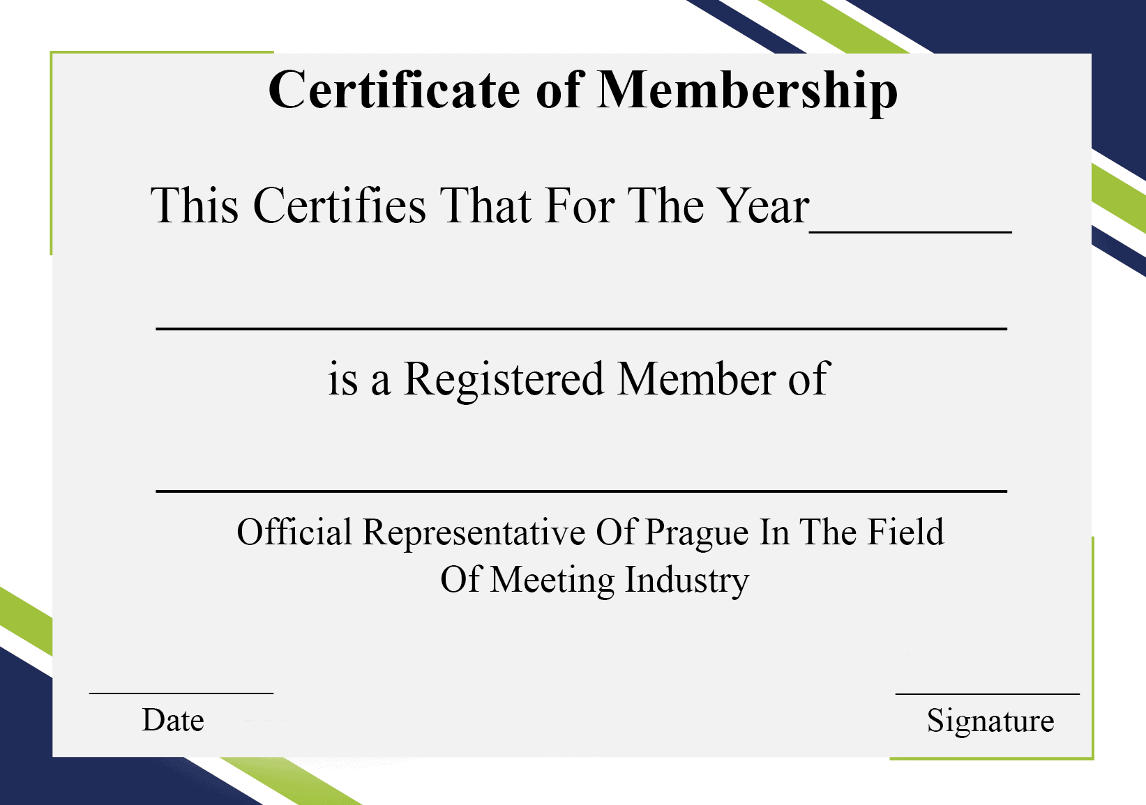 Certificate Of Membership Template