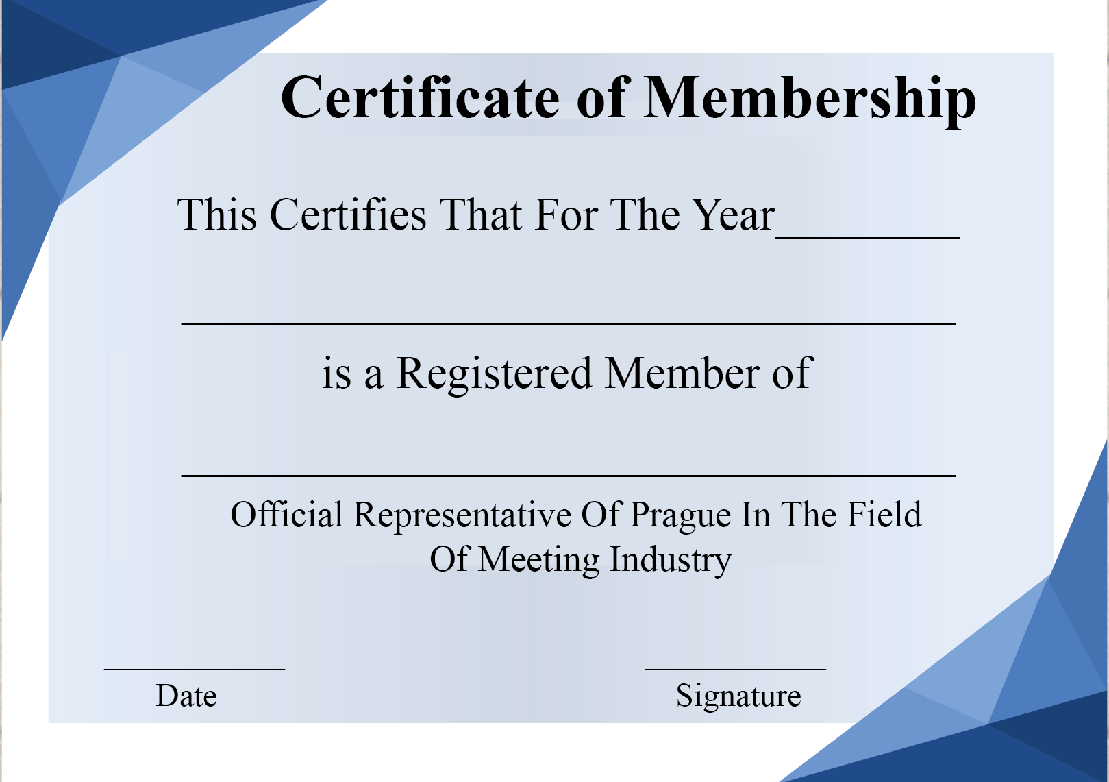 Certificate Of Membership Printable