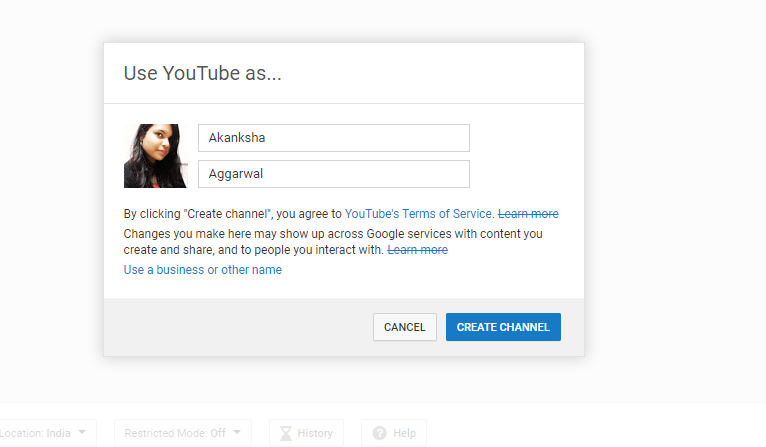 Create A YouTube Channel Account