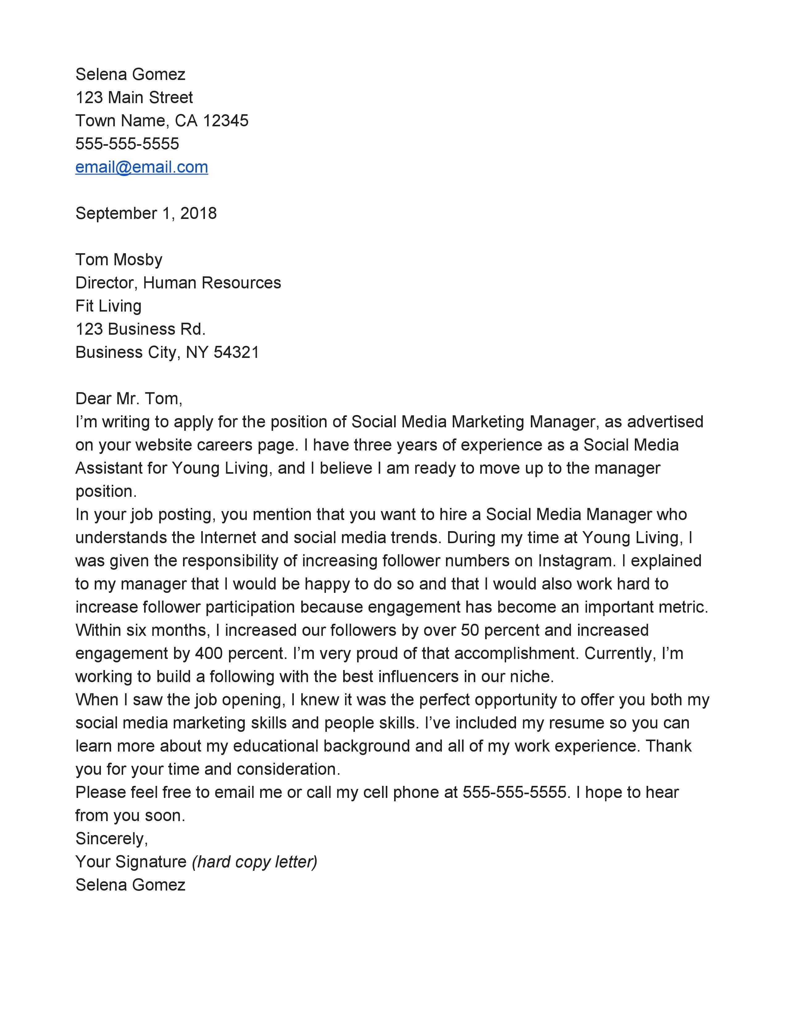 Cover Letter For Job