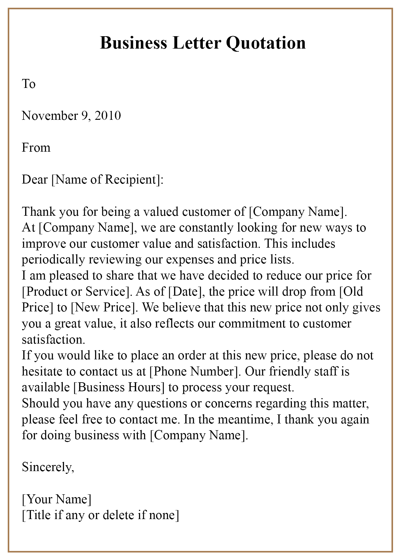 Letter For Business Quotation