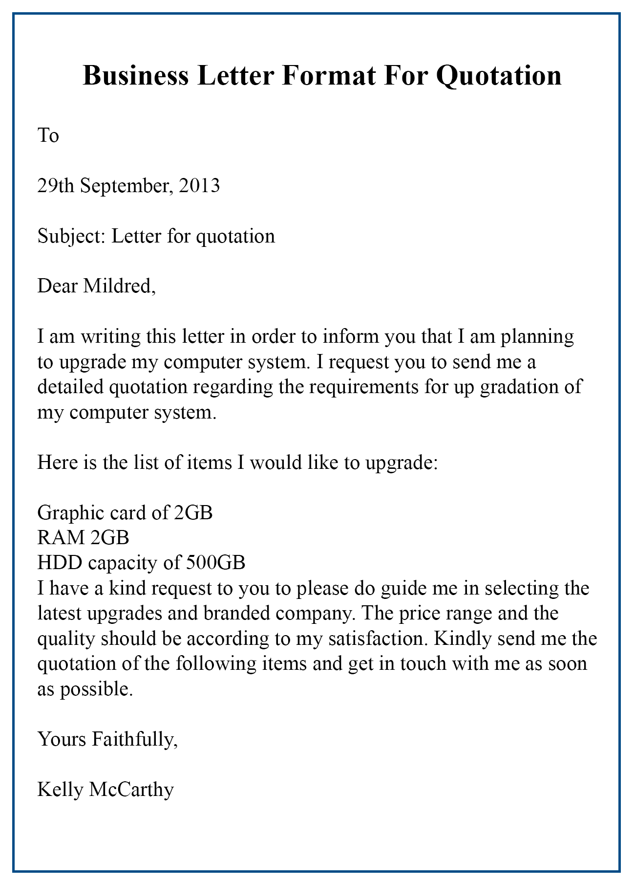 Business Quotation Letter Format