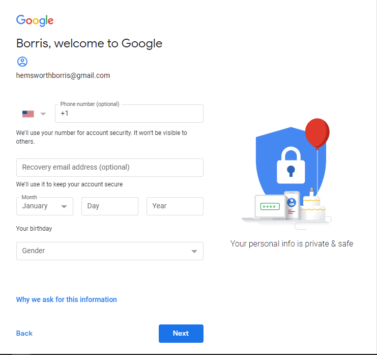 how to create a new account on Google